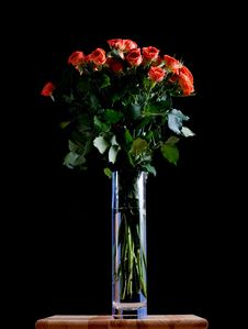 Free Beautiful Roses In A Blue Vase On Black Background Stock Images - 5669214