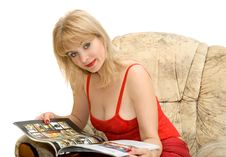 The Woman With Magazine Stock Images