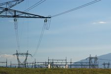 Landscape With Electrical Power Lines Stock Images