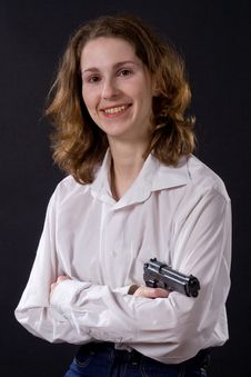 Free Woman With Gun Royalty Free Stock Photography - 5671397