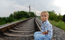 Free Boy On The Railway Royalty Free Stock Photography - 5671667