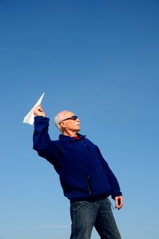 Free Grandfather With Paper Airplane Royalty Free Stock Photo - 5673125