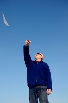 Free Grandfather With Paper Airplane Stock Photography - 5673272