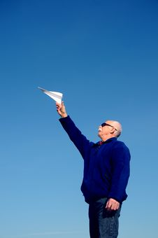 Free Grandfather With Paper Airplane Royalty Free Stock Image - 5673396