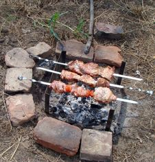 Preparation Of Shashlik On Mangal Royalty Free Stock Photography
