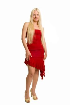 Free Long-haired Blonde Dressed Up In Red Stock Image - 5674601