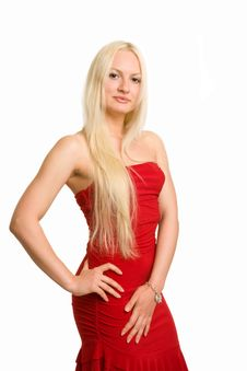 Free Blonde Dressed Up In A Red Dress Stock Photos - 5674783
