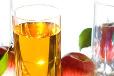 Apples With Leaves And Juice Stock Images