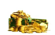 Riches, Gold Coins In A Chest Stock Photos