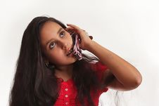 Free Young Girl With Mobile Phone Royalty Free Stock Photography - 5675527
