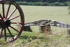 Wooden Wheel And Bench Stock Photography