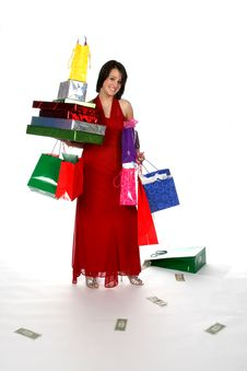Free Shopping Teen With Bags And Money Stock Photos - 5677453