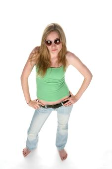Pretty Young Woman From Above Wearing Sunglasses Stock Image