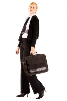 Free Business Woman With Her Laptop Bag Royalty Free Stock Image - 5677816