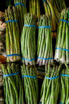 Fresh Bunches Of Asparagus Stock Photo