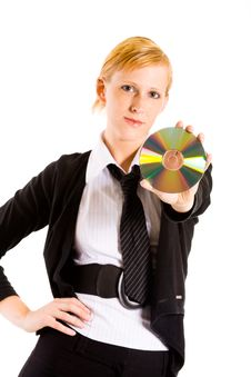 Free Business Woman With A CD Stock Images - 5677974