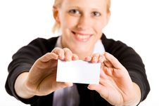 Free Smiling Business Woman With Her Card Stock Image - 5678051