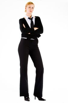 Business Woman Is Waiting Royalty Free Stock Photography