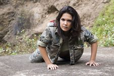 Woman In The Army On The Floor Stock Image