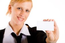 Business Woman With Her Card Stock Photos