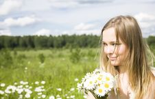 Free Smiling Woman With Flowers Stock Photo - 5678280