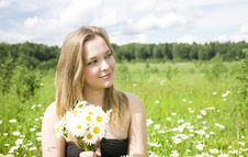 Free Young Woman With Flowers Royalty Free Stock Photos - 5678328