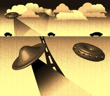 Alien Flying Saucers Stock Image