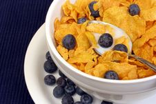 Corn Flake Cereal With Blueberries Stock Image