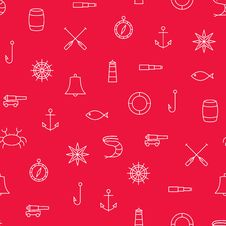 Free Marine Line Icons Seamless Pattern On Red Background Royalty Free Stock Image - 56780326