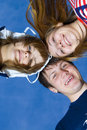 Free Three Friends On A Background Of The Blue Sky Royalty Free Stock Photos - 5686408