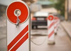 Free Parking Barrier With Lock And Chain Royalty Free Stock Image - 5680476