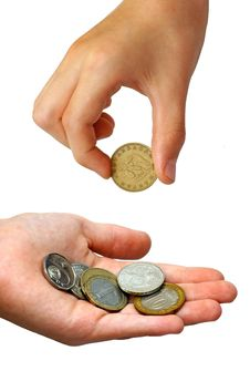 Free Hand Puting Coins In A Palm Royalty Free Stock Photography - 5681347