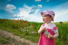 Free Baby-girl On A Lane Amongst A Field Stock Photography - 5681952