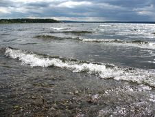 Waves On Lakeside Stock Photography