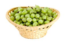 Gooseberries In The Wicker Basket Royalty Free Stock Photos