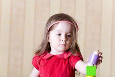 Free Portrait Of A Little Girl Building Toy Tower Royalty Free Stock Photo - 5682275