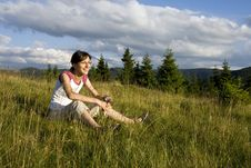 Free Young Woman In Summer Field Royalty Free Stock Image - 5682326