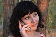 Free Cute Girl With A Cell Phone Stock Images - 5683354