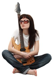 Free Pretty Girl Holding An Electric Guitar Royalty Free Stock Images - 5683359