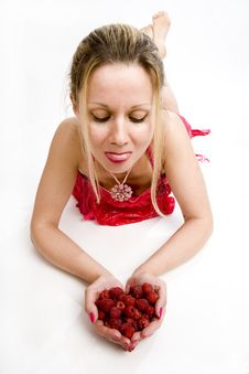 Long Hair Blonde With Raspberries Royalty Free Stock Images