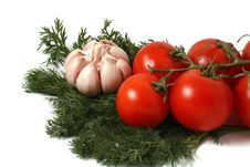 Garlic, Fennel And Tomatoes Stock Photos