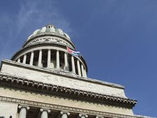Free Havana S Capitol Dome, And Cuban Flag Royalty Free Stock Photography - 5684837