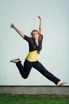Free Happy Jumping Girl. Stock Photography - 5684852