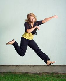 Free Jumping Girl. Stock Image - 5684941