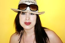 Free Brunette With Sunhat And Sunglasses Stock Photography - 5685122