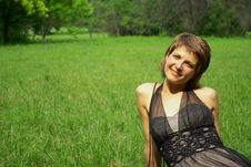 Free Attractive Young Woman On The Green Grass Royalty Free Stock Images - 5685659