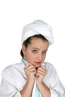 Serious Teen In Towel And Robe Royalty Free Stock Photos