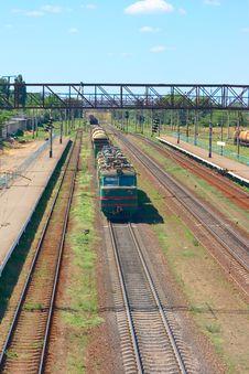 Train On Rails Way - Background Royalty Free Stock Photo