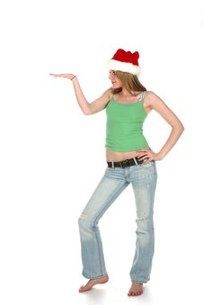 Santa Hat Woman With Hand Out Stock Photos