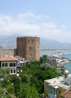 Free Turkey, Alanya - Red Tower And Harbor Royalty Free Stock Photography - 5687077